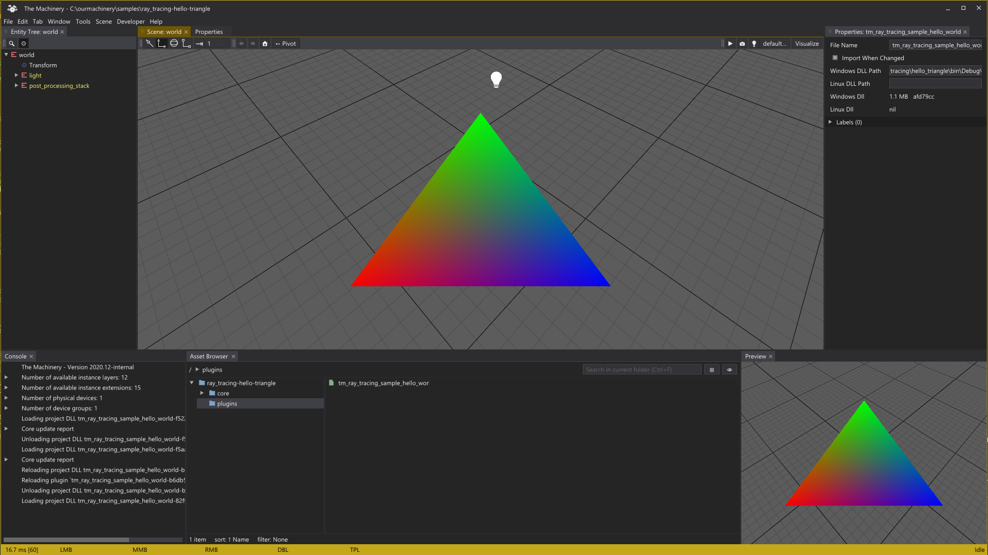 Hello Triangle raytracing sample.
